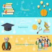 pic of professor  - Science and education college students university examination power mind professor study lessons learning vector banners - JPG
