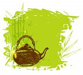 image of teapot  - Green decorative background with hand drawn bamboo branch and teapot - JPG