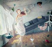 foto of zero  - young beautiful lady fly in zero gravity room - JPG