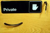 File Drawer With Handle, Keys & Privacy Sign