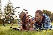 picture of she-male  - Cheerful loving couple is resting in the nature - JPG