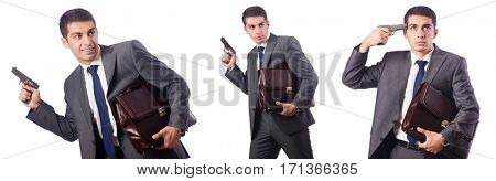Businessman with gun isolated on