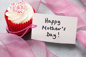 White Frosting Cupcake With happy Mothers Day Tag poster