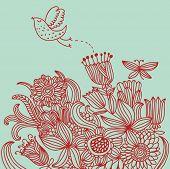 Постер, плакат: Цветочный фон с мультфильм птица