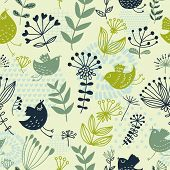 Summer floral design pattern, for stylish wallpapers in green colors
