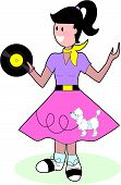 stock photo of poodle skirt  - Young fifties style teenage girl in poodle skirt - JPG