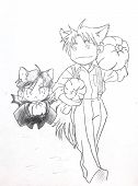 Drawing In The Style Of Anime. The Image Of A Fictional Character, A Girl Cat In The Picture In The poster