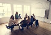 Meeting Table Networking Sharing Concept poster