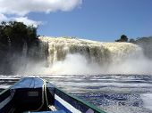 stock photo of canaima  - Waterfalls in Canaima strong water power in the lagoon - JPG