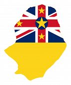Niue Island Flag On Map