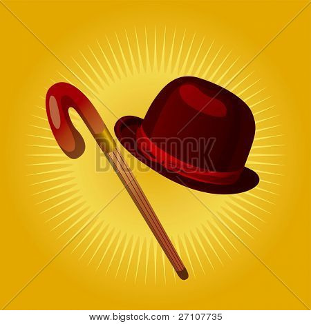 Retro Hat Cane Fully Editable
