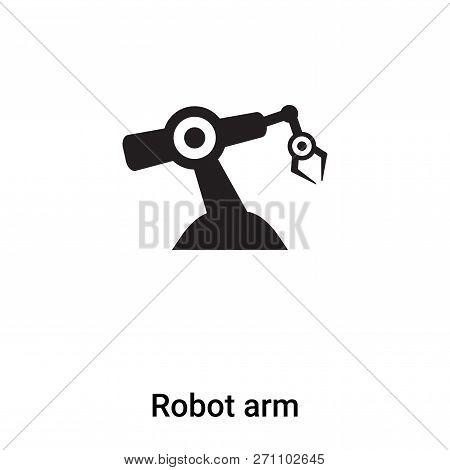 poster of Robot Arm Icon In Trendy Design Style. Robot Arm Icon Isolated On White Background. Robot Arm Vector