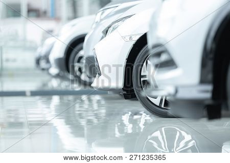 poster of Cars For Sale, Automotive Industry, Cars Dealership Parking Lot. Rows Of Brand New Vehicles Awaiting
