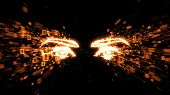 Glowing Orange Eyes In Explosion Of Binary Data 3d Image Illustrating Spyware, Privacy And Hacking poster