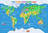 Board Game Vector World Gaming Map Boardgame With Ocean Continents Gameboard Illustration Set Of Glo poster
