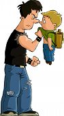picture of bullying  - The bully and the little boy vector - JPG