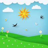 Summer Landscape Background With Green Field With Flowers And Blue Sky With Butterflies, Birds, Clou poster