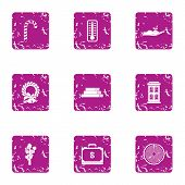 Money Leisure Icons Set. Grunge Set Of 9 Money Leisure Icons For Web Isolated On White Background poster