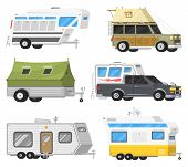 Trailers Or Family Rv Camping Caravan. Tourist Bus And Tent For Outdoor Recreation And Travel. Mobil poster