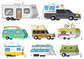 A Set Of Trailers Or Family Rv Camping Caravan. Tourist Bus And Tent For Outdoor Recreation And Trav poster
