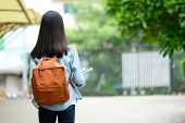 Back Of Student Girl Holding Books And Carry School Bag While Walking In School Campus Background, E poster