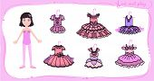 Dress Up Paper Doll In Cartoon Style With Ballet Tutus. Cut Or Stick And Play. Vector Illustration F poster