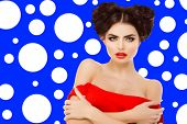 Model, Girl with red lips hairstyle, braids of hair heart shaped, love. Hair Salon. Updo. Fashion mo poster