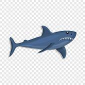 Blue Shark Icon. Cartoon Of Blue Shark Vector Icon For Web Design poster