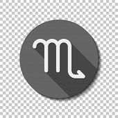 Astrological Sign. Scorpio Simple Icon. Flat Icon, Long Shadow, Circle, Transparent Grid. Badge Or S poster