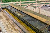 Wooden Bath For Impregnation Of Building Boards With Antiseptic Protective. Covers Antiseptic Boards poster