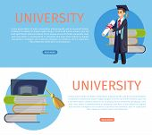 Vector Concept Illustration Cartoon Happy Students. Banner Image Set Web Page Concept University. Te poster