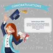 Vector Concept Illustration Cartoon Happy Students. Banner Image Smiling Young Girl Congratulations  poster