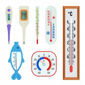 A Set Of Different Thermometers - Indoor, Outdoor, Medical, For Water. A Large Collection Of Thermom poster