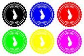 Finland - Rubber Stamp - Vector, Finland Map Pattern - Sticker - Black, Green, Yellow, Purple, Blue  poster