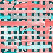 Bauhaus Pattern. Red Pink Geometric Watercolor Abstract Seamless Print. Watercolour Stripe Backgroun poster