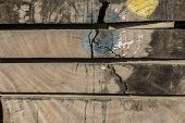 Wooden Boards Stained With Paint, Stacked Wooden Boards, Natural Wood Board poster