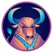 Taurus Zodiac Sign, Astrological Horoscope Symbol. Futuristic Style Icon. Stylized Graphic Portrait  poster