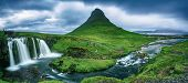 Kirkjufell Mountain And Waterfalls In Iceland, Panoramic Travel Background poster