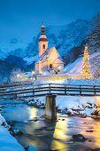 Beautiful Twilight View Of Sankt Sebastian Pilgrimage Church With Decorated Christmas Tree Illuminat poster