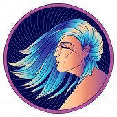 Virgo Zodiac Sign, Horoscope, Astrological Symbol. Futuristic Style Icon. Stylized Graphic  Profile  poster