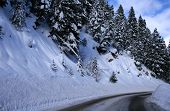 image of snowy-road  - Winter travel on snowy roads in central Idaho - JPG