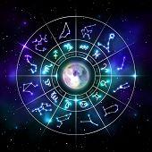Zodiac Circle With Astrology Symbols With Realistic Moon. Representation Of Star Signs For Astrology poster