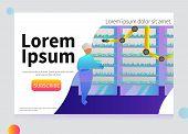 Farm Of The Future Vector Concept. Organic Laboratory. Farmer Checks His Organic Harvest At Laborato poster