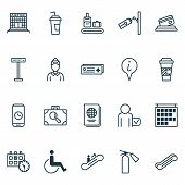 Airport Icons Set With Airport Sign, Disabled Handicap, Suitcase Scanner Airport Card Elements. Isol poster