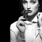 Sexy Woman Bite Tie Bow At Night, Sensuality And Desire, Black And White, Isolated poster