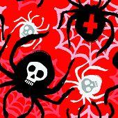 Spider Funky Seamless Rough Grunge Pattern, Modern Design Template. poster