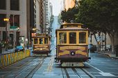 Classic Panorama View Of Historic San Francisco Cable Cars On Famous California Street At Sunset Wit poster