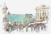 A Watercolor Sketch Or An Illustration. Ordinary City Life In Prague. Local Residents And Tourists A poster