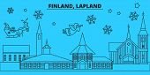 Finland, Lapland Winter Holidays Skyline. Merry Christmas, Happy New Year Decorated Banner With Sant poster