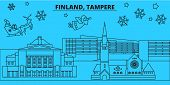 Finland, Tampere Winter Holidays Skyline. Merry Christmas, Happy New Year Decorated Banner With Sant poster